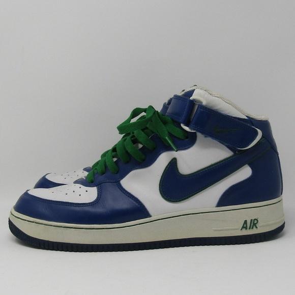 best service 14941 101bc Nike Air Force 1 Size 10.5 Mid Blue Green White. M5b4d24ec5c44529b61d10424